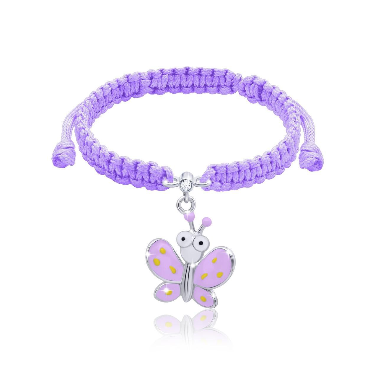 Браслет плетеный Мотылёк с глазами aиолетовый