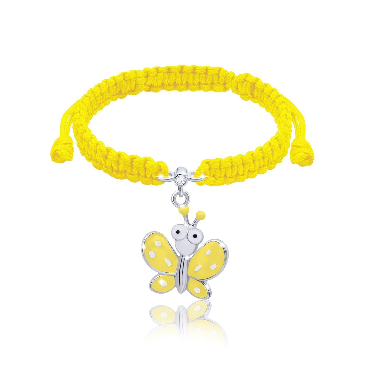 Браслет плетеный Мотылёк с глазами желтый  Желтый