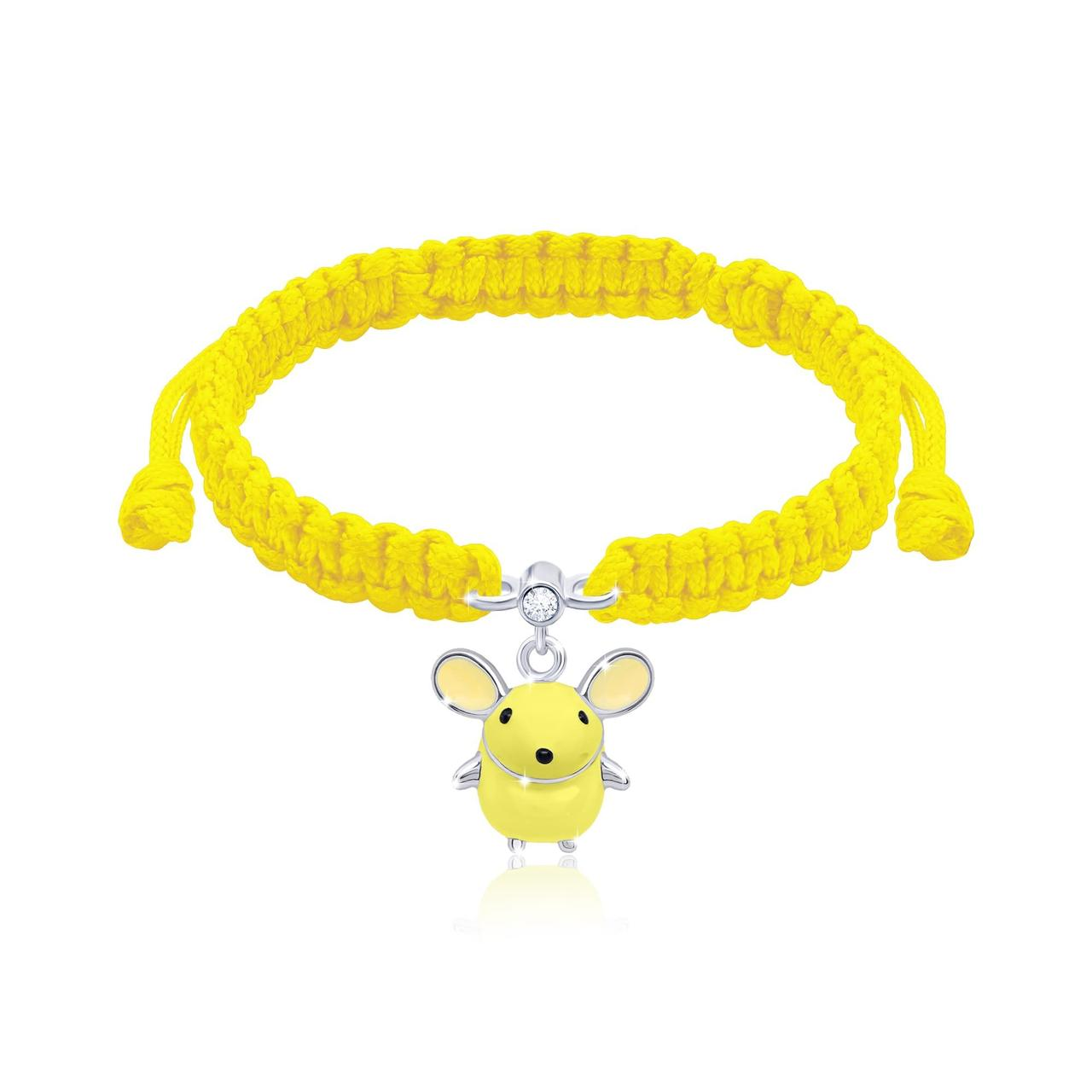 Браслет плетеный Мышка Желтый