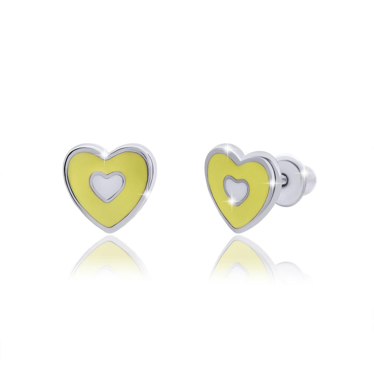 Пуссеты Сердце с сердцем Желтый