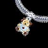 Браслет плетеный Мишка с сердцем Серый, фото 2