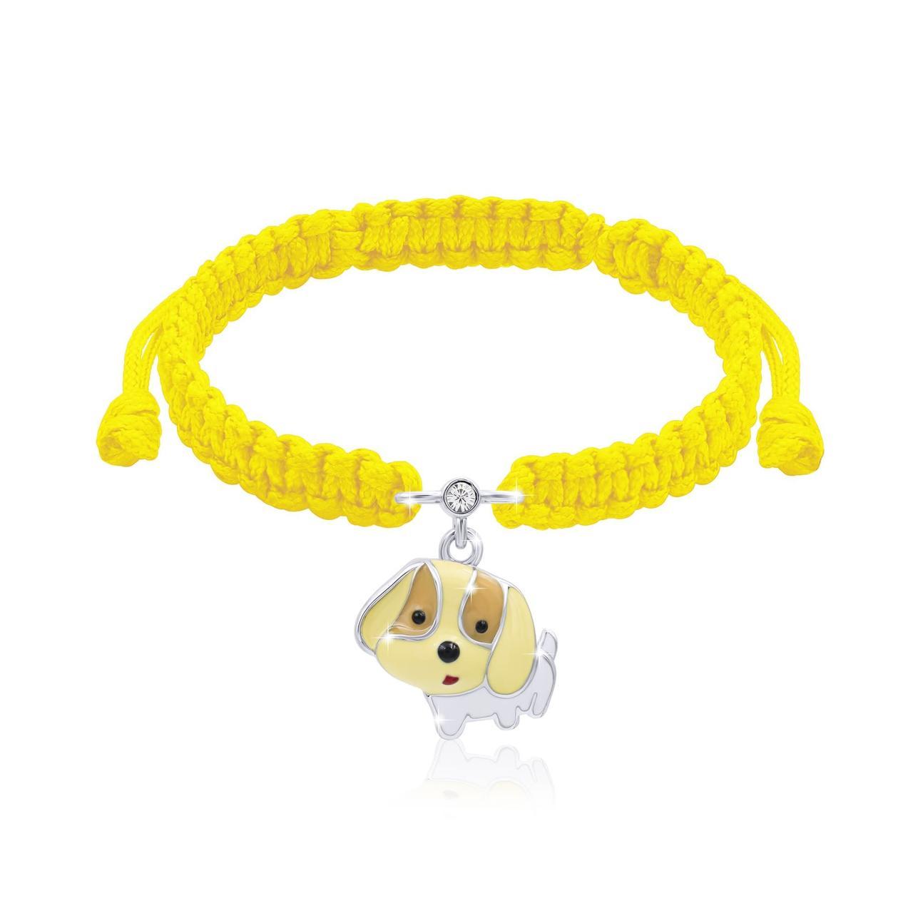 Браслет плетеный щеночек Желтый