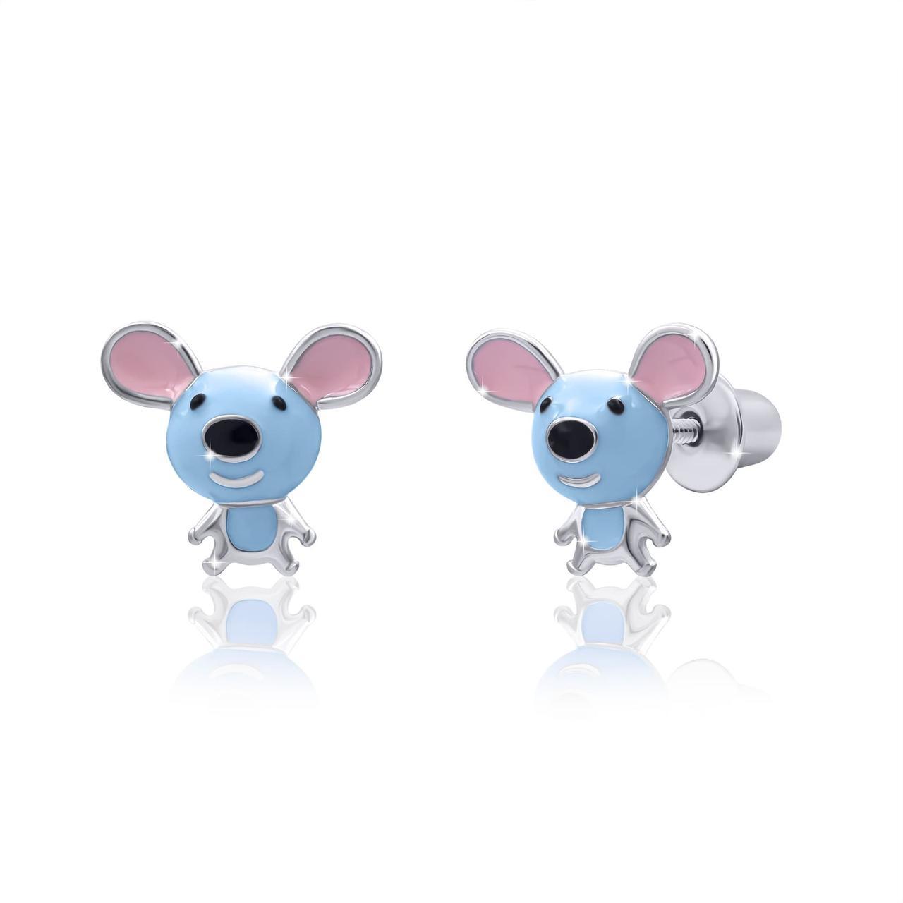 Сережки Мышка Голубой