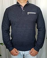 Мужская рубашка большого размера темно синяя с карманом