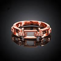 Кольцо цепочка фианиты покрытие золотом 18К