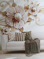 Фотообои виниловые на флизелине крупные цветы коричневые белые с золотом 3д