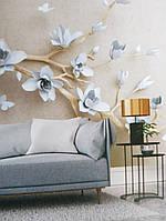 Фотообои виниловые на флизелине ветка цветы голубые белые 3д
