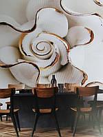 Фотообои виниловые на флизелине цветы абстракция 3д белые бежевые
