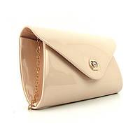 Розовая лаковая женская сумка-клатч вечерняя выпускная на цепочке rh-102817 pud, фото 1