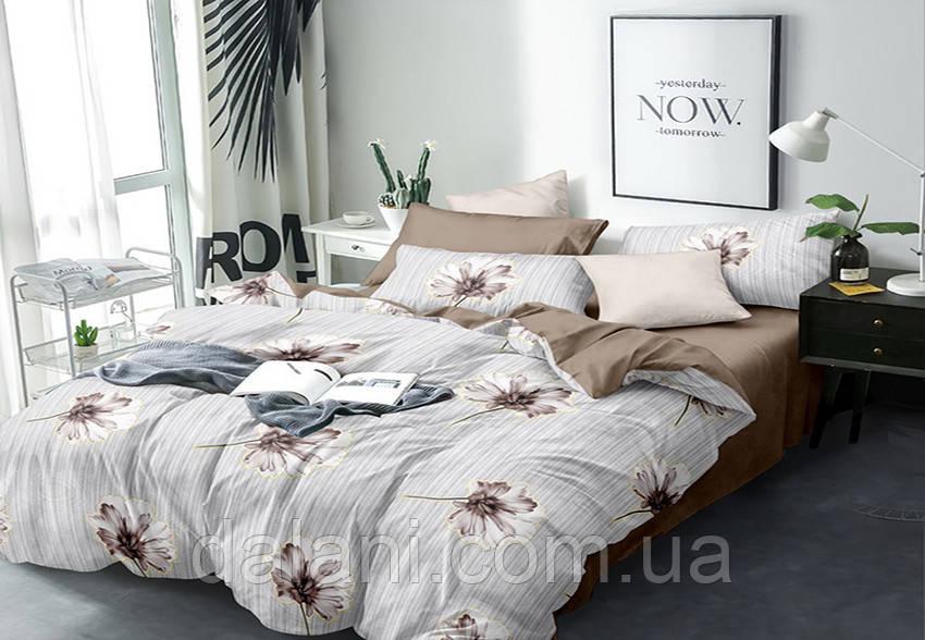 Полуторный коричневый комплект постельного белья из сатина