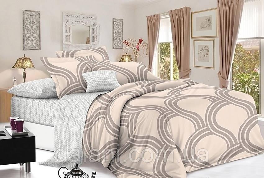 Полуторный бежевый комплект постельного белья из сатина