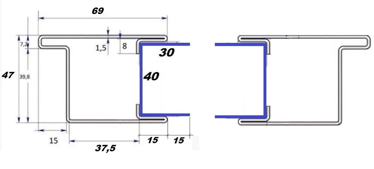 Профиль створки 69 мм. + швеллер30*40*30,для ставень с поворотными ламелями,пара правый и левый.м-