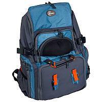 Рюкзак для рыбалки с 4 контейнерами + футляр для очков Ranger bag 5 (30л), серый/синий