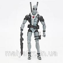 Реалистичная фигурка Дэдпула серого цвета с набором аксессуаров  - Gray Deadpool, Marvel, 15СМ