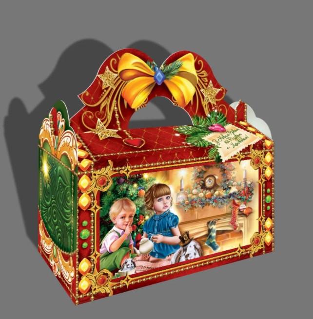 Новорічна картонна упаковка для цукерок 1000 грам Скриня