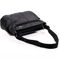 Тканевая ультрамодная женская сумка на плечо черная стильная маленькая два кармана Dolly 646 32х22х14 см, фото 2