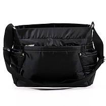 Тканевая ультрамодная женская сумка на плечо черная стильная маленькая два кармана Dolly 646 32х22х14 см, фото 3