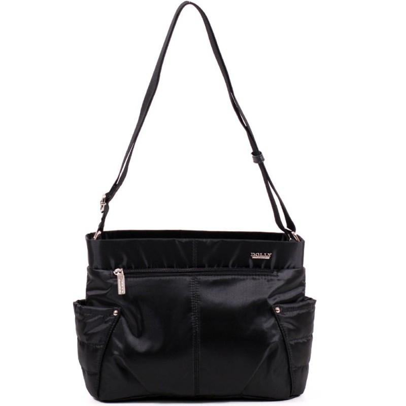 Тканевая ультрамодная женская сумка на плечо черная стильная маленькая два кармана Dolly 646 32х22х14 см