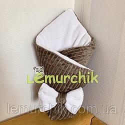 Конверт-одеяло минки на махре, коричневый