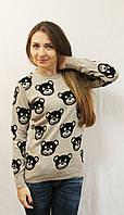 Теплый стильный женский свитер с мишками