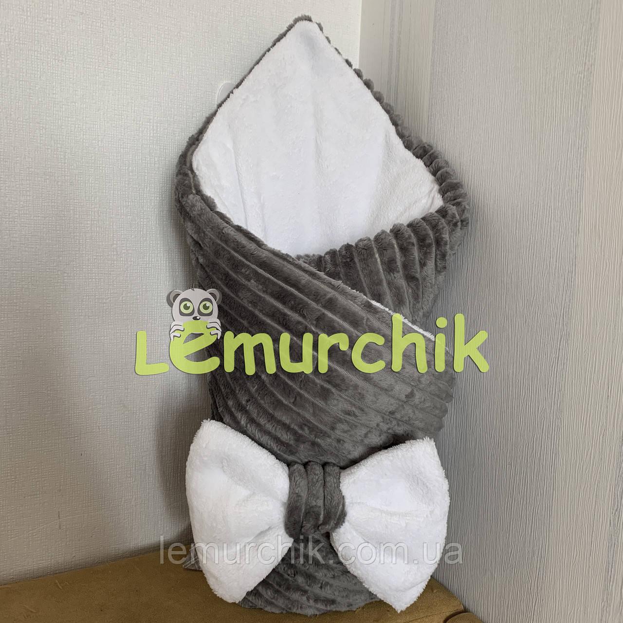 Конверт-одеяло минки на махре, серый