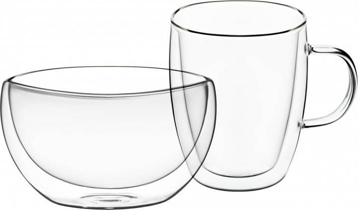 Набор для завтрака  с двойными стенками Ardesto чашка 270 мл и пиала 500 мл боросиликатное стекло AR2650BG, фото 2