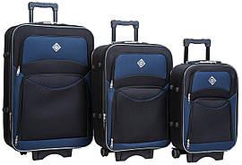 Набір валіз на колесах Bonro Style Чорно-темно-синій 3 штуки