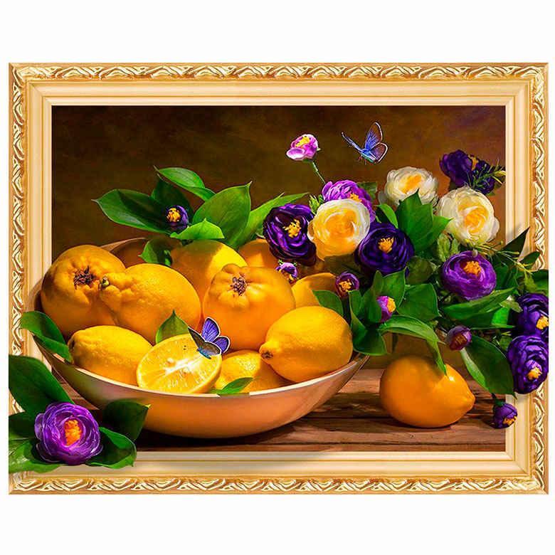 Алмазная мозаика по номерам на холсте с 3D эффектом 40*50см Josef Otten ELT0200 Лимоны