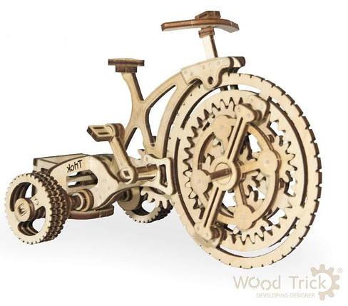 Велосипед Wood Trick (89 деталей) - механический деревянный 3D пазл конструктор, фото 2
