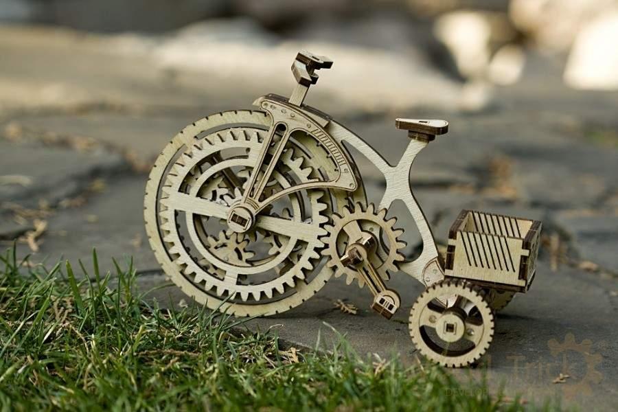 Велосипед Wood Trick (89 деталей) - механический деревянный 3D пазл конструктор