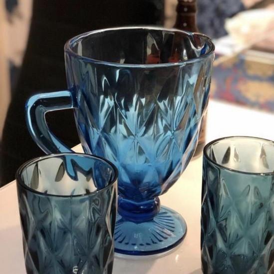 """Цветной винтажный стеклянный кувшин для напитков Helios """"Сапфир"""" 1100 мл (64047)"""