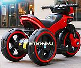 Дитячий електромобіль Мотоцикл з підсвічуванням, M 3927-3 червоний, фото 10