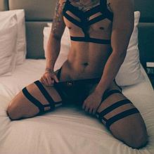Портупеи мужские сексуальное нижнее белье подтяжки ремни на бретельках тянутся (обхват талии 68-90 см) Q01