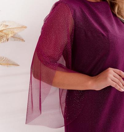 """Элегантное платье батал с рукавами """"лепесток"""" на запАх Размеры: 46-48, 50-52, 54-56, 58-60, 62-64, фото 2"""
