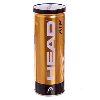 Мяч для большого тенниса HEAD (3шт) ATP METAL CAN (в вакуумной упаковке, салатовый)