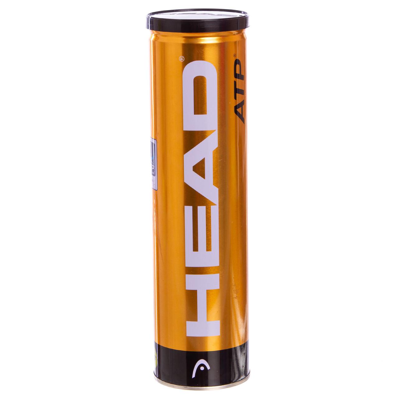 Мяч для большого тенниса HEAD (4шт) ATP METAL CAN (в вакуумной упаковке, салатовый)