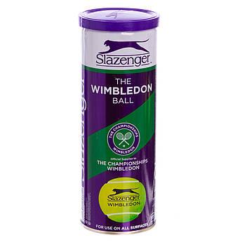 Мяч для большого тенниса SLAZENGER (3шт) WIMBLEDON (в вакуумной упаковке, салатовый)