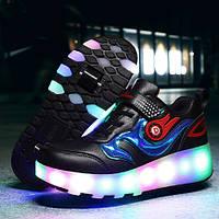 Светящиеся кроссовки на роликах в стиле Heelys, детские и подростковые, черные (339)