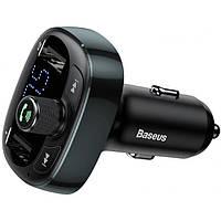 FM-трансмиттер автомобильный Baseus T-Typed FM S-09, 2 USB, черный