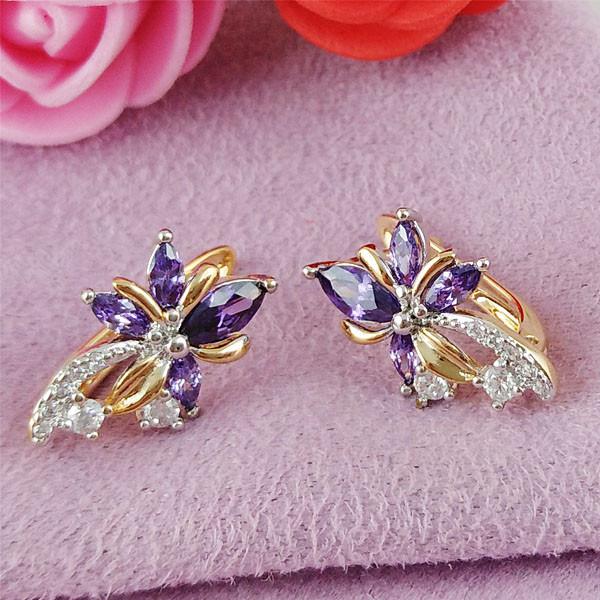 Серьги Xuping Jewelry Цветочки фиолет медицинское золото позолота 18К + родий английский замок А/В 1-0174