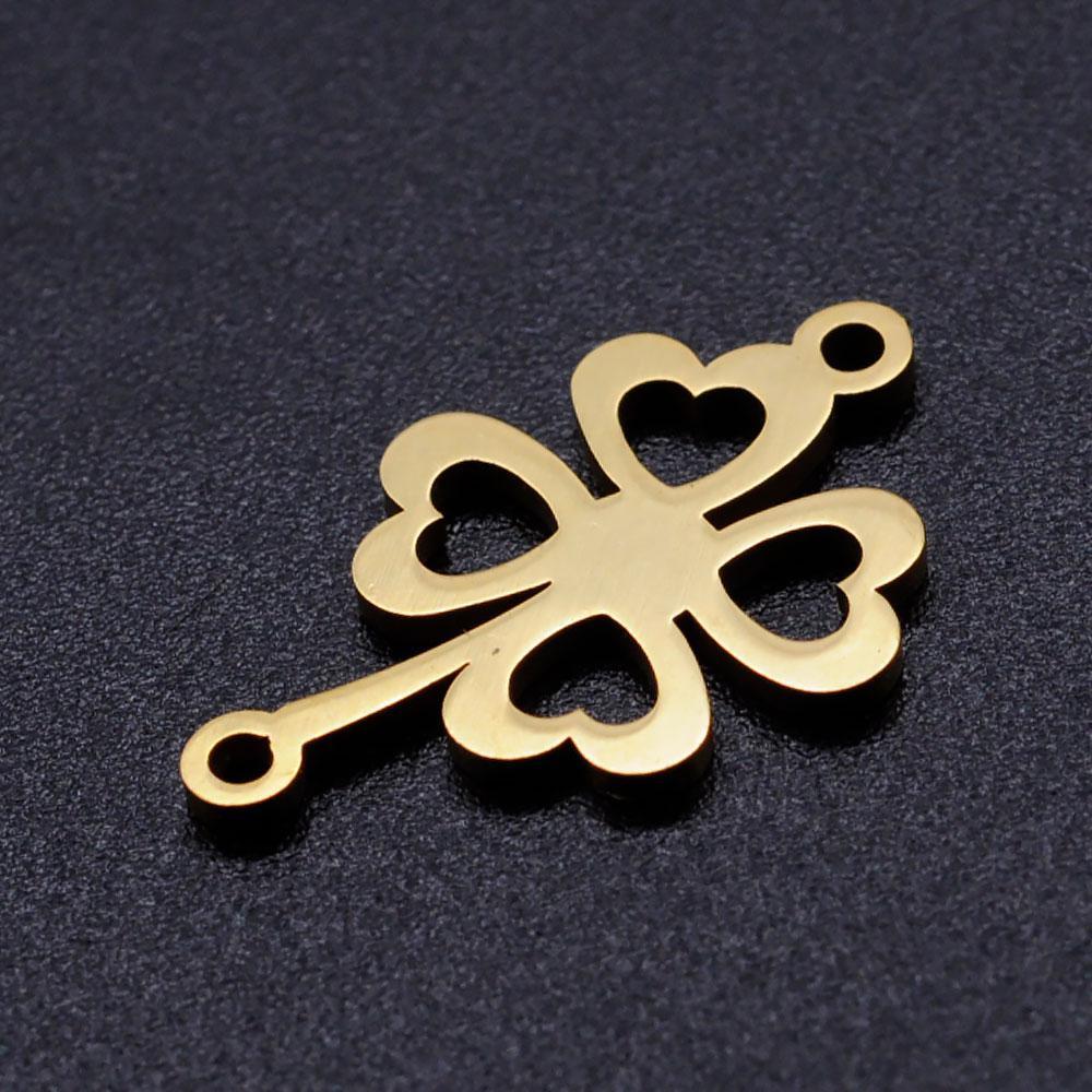 Металлический коннектор клевер 20х11 мм из нержавеющей стали для рукоделия цвет золото
