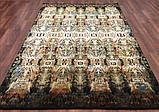 Шикарний шовковистий темний класичний килим в кольорі мультиколор на чорному тлі, фото 3