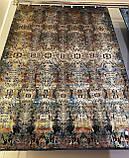 Шикарний шовковистий темний класичний килим в кольорі мультиколор на чорному тлі, фото 2