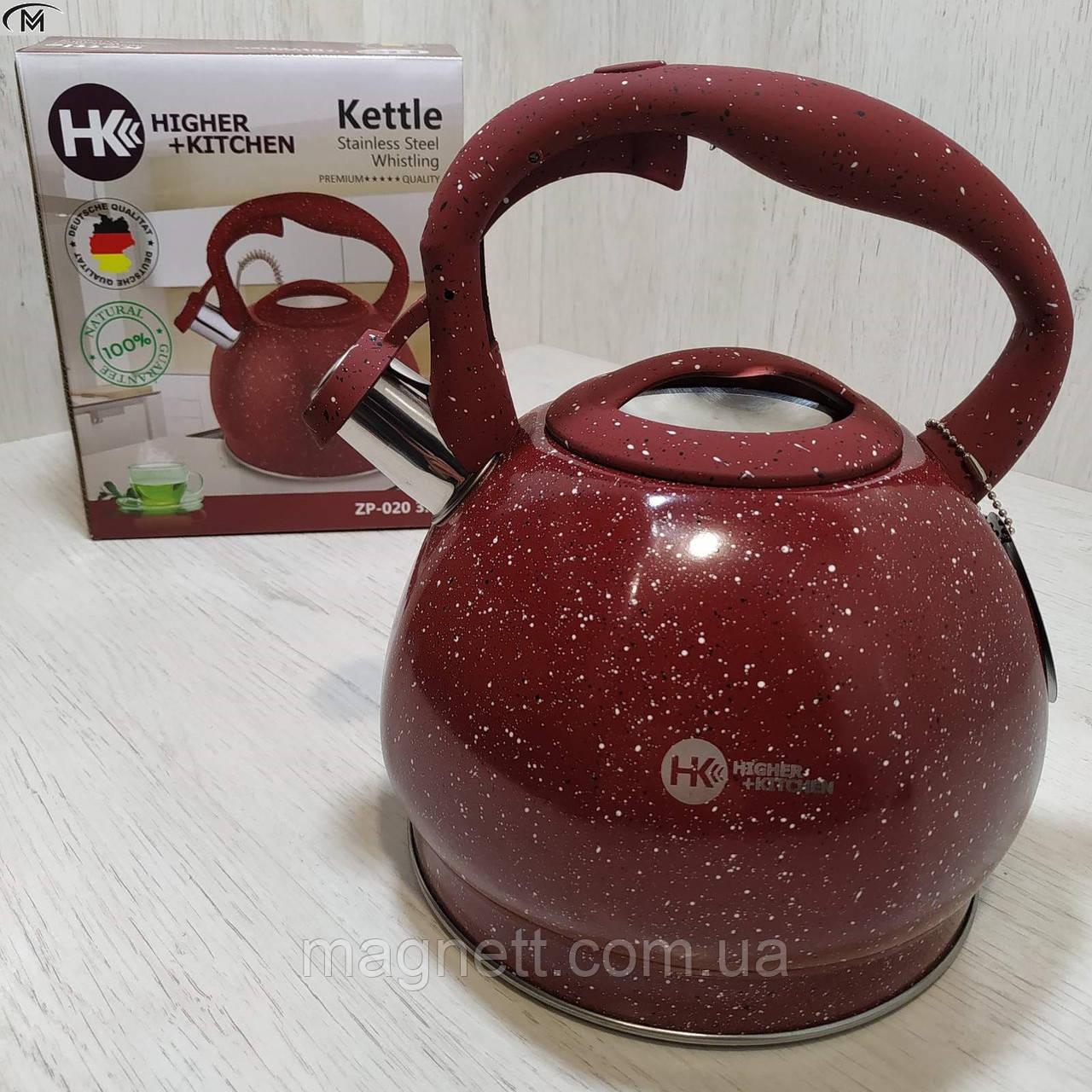 Чайник со свистком HIGHER KITCHEN ZP-020 красный 3.5 л