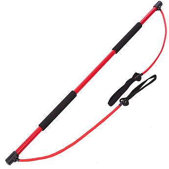 Палка гимнастическая для фитнеса с эспандерами Bodi Shaper Stick PS (пласт,l-130см,l эсп-65см)