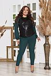 Эффектный брючный костюм украшен пайетками, ботал, 2цвета. Р-р.50-52;54-56;58-60 Код 3051Е, фото 5