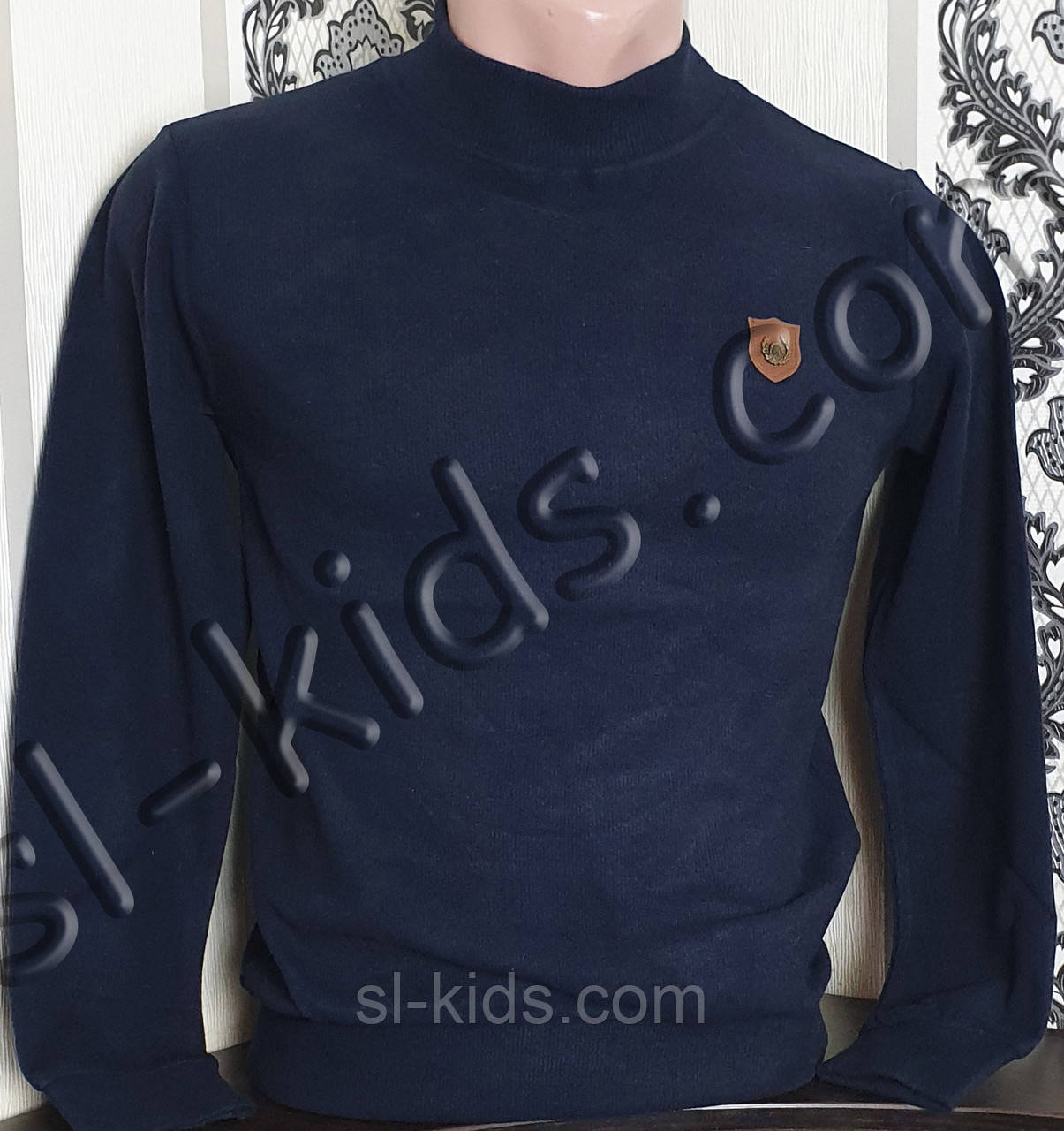 Гольф-стійка на хлопчика 134-164 см FIGO (темно синій)(опт)