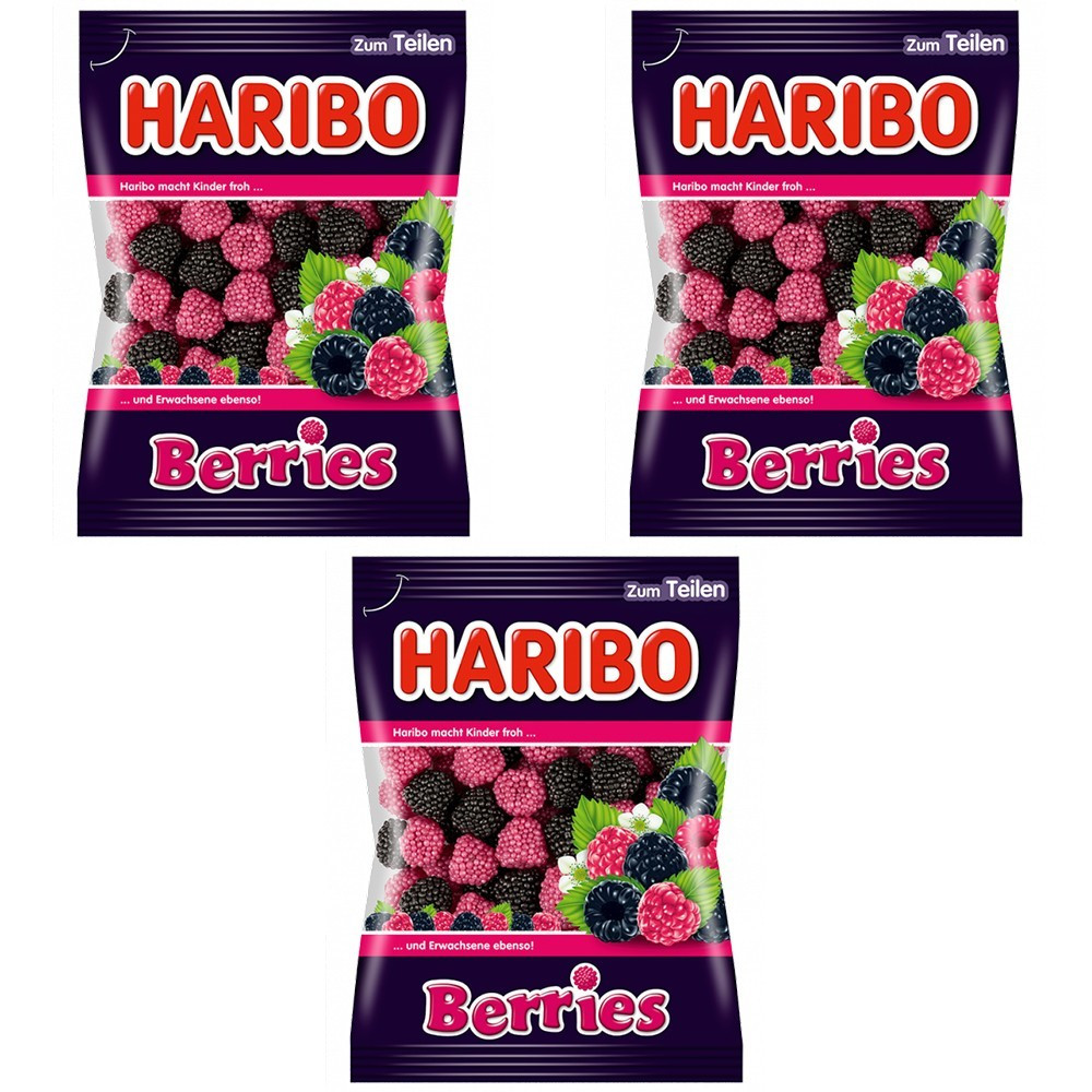 Конфеты жевательные HARIBO Berries ягоды 3 * 200 грамм (600 грамм)
