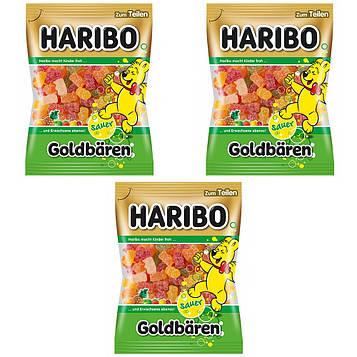Конфеты жевательные HARIBO Sauer Goldbären кислые 3 * 200 грамм  (600 грамм)