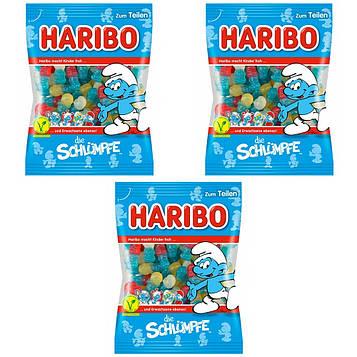 Конфеты жевательные HARIBO die Schlumpfe смурфики 3* 200 грамм (600 грамм)